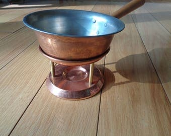 Vintage Small Copper Fondue Pot with Copper Candle Stand in Vintage Condition with well developed patina for melted butter or cheeses