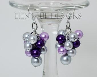 Gray & Purple Pearl Cluster Earrings, Gray Pearl Cluster Earrings, Purple Pearl Chunky Earrings,  Bridesmaids Earrings, Gray Pearl Earrings