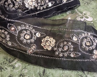 Black Silver Stitched Beaded Trim