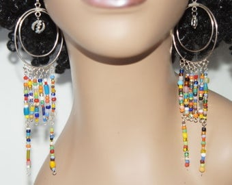 Dangle Hoop Beaded Earrings- Gye Nyame