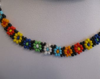 Handmade Beaded Multi-Color Flower Choker Necklace 13.5 Inches