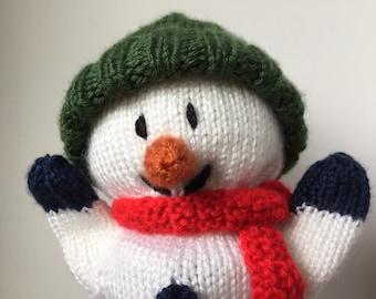Hand knit Snowman puppet, knit hand puppet, knit glove puppet, knit puppet snowman, plush snowman knit, snowman toy knit, knit toy snowman