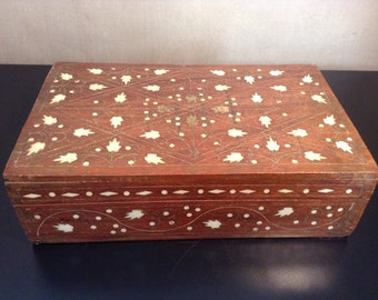 Vintage bone and brass inlay box trinket box from India