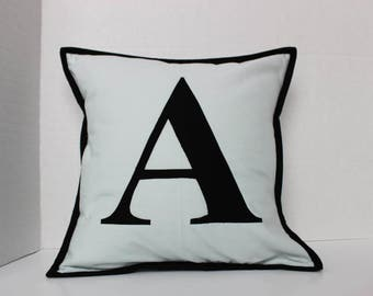 Quilted Pillow Cover - Initial Pillow - Personalized Letter Pillow - Classic Monogram - Custom Letter Pillow - Personalized Gift - Custom