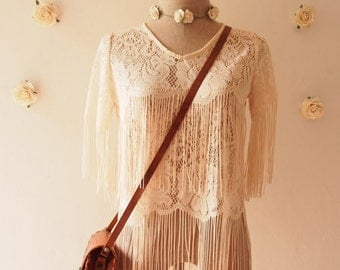 Flash SALE Minimalist Lace See Through Fringe Blouse - Cream - T-shirt like Bohemian Hippie Boho Artisan Style Piece Tribal Clothing