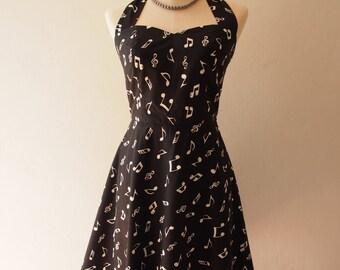 Music - Music Dress Black Concert Dress Halter or Shoulder Straps Vintage Summer Skater Swing Dress Retro Party Tea Dress-Size Small