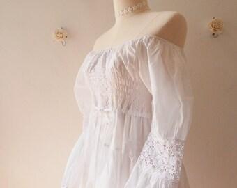 White Dress White Bohemian Dress Hippie Dress White Beach Lace Boho Dress Heirloom Vintage Style Dress