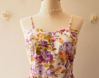 Crop Top and Skirt Set Purple Rose White Set Vintage Inspired  Style Summer Matching Crop Top and skirt Set