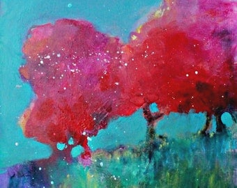 "Small Abstract Tree Painting, Original Landscape in Acrylics, Colorful, ""Red Trees"""