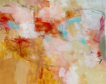 """Loose Abstract Expressionist Artwork, Original Painting on Paper, Intuitive Art """"Warm"""" 12x12"""""""
