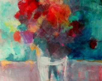 Colorful Abstract Floral, Bouquet of Flowers, Works on Paper, 18x24""
