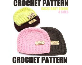 CROCHET PATTERN.  Basic baby beanie.  Sizes newborn to 12 months.  Easy baby beanie with ribbed brim.  Simple baby hat crochet pattern.