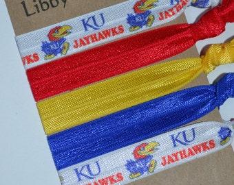 Set of Five Kansas University Jayhawks Hair Ties