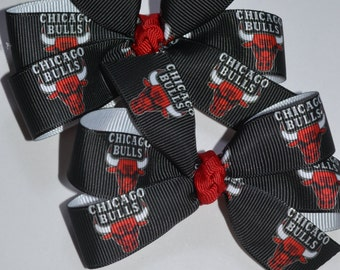 Set of Two Chicago Bulls Hair Bows NBA Basketball