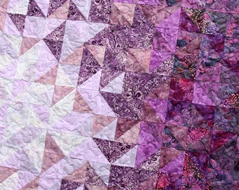 Batik Patchwork Quilt, Fractured Amethyst, Queen / King Size Handmade by PingWynny