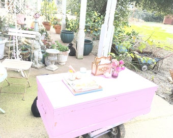 chest  coffee table pink chippy shabby chic cottage chic