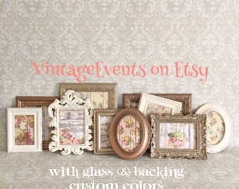 Gallery Wall  PICTURE FRAMES - neutral - gold brown cream - Rustic Romantic Colors - shabby chic wedding - Vintage Style - Glass & Backing