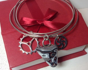 Fordite, 1980's Corvette Paint Drip & Sterling Gear Charms on Solid Sterling Silver Triple Bangle Bracelet