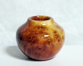 Australian Greenstone Mallee Burl Turned Wood Miniature Pot