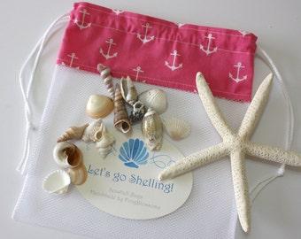 Sea Shell Bags READY TO SHIP, Drawstring SeaShell Bag, White Anchors on Pink Fabric and Mesh Beach Bag, Shelling Bag, Shell Collecting Bag