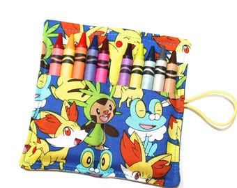 Pokemon Happy Birthday Party Favors, Crayon Rolls Pokemon fabric for Pikachu Birthday Party, FAST SHIPPING, crayon sleeves wraps holders