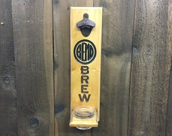 Bend Oregon Brew Beer Bottle Opener - Craft Home Brew Cap Catcher Wall Mounted Man Cave Fathers Day Bomber Gift Groomsman - Pine Wood