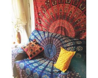 drap de lit de mandala etsy. Black Bedroom Furniture Sets. Home Design Ideas