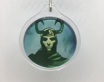 Upcycled Comic Book Keychain Featuring - Loki