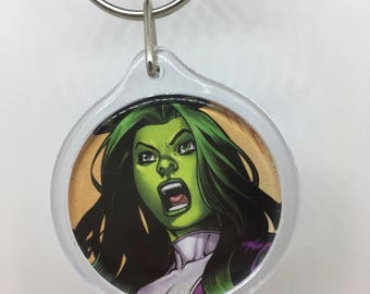 Upcycled Comic Book Keychain Featuring - She-Hulk