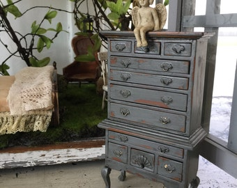 dollhouse miniature repaitned highboy dresser distressed gray