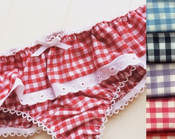 Blue, lilac, red, pink, navy, black gingham frilly vintage inspired panties knickers. Pinup style burlesque lingerie cute custom underwear.