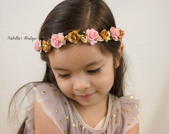 Dusty Rose Blush Pink Gold Floral Crown - Floral Halo Floral Boho Headband Newborn Photo Prop Shabby Chic
