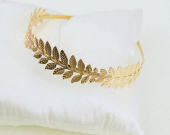 Gold Leaf Headband, Laurel Wreath Headband,Wedding Head Piece,Branch Headband,Boho Headband