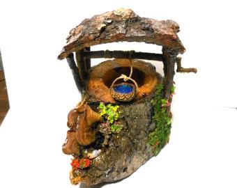 Fairy Garden Well-Lighted Magical Well-OOAK-Snail/Ladybugs