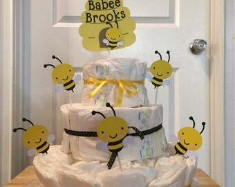 Babee Bumble Bee Diaper Cake Toppers
