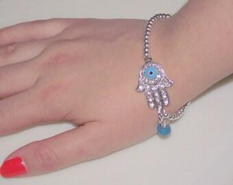 Hamsa Hand Bracelet,  Hamsa Hand Jewelry, Silver Hamsa Bracelet ,  Hand of Fatima Bracelet