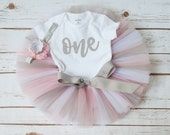 """Pink and silver first birthday outfit """"Zoe"""" pink silver tutu outfit pink first birthday girl outfit pink silver tutu set tutu outfit one"""