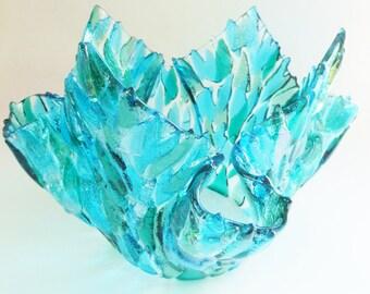 River Waters Fused Glass Vase - Kiln Formed Ice Bucket - Sea Glass Green, Aqua Blue, Teal