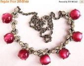 "Art Deco Bib Necklace Pink Moonstones & Rhinestone Ribbons Silver Curb Chain 17"" Vintage"