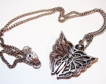 "Sterling Silver Butterfly Pendant Chain Necklace Signed SW #89 Spring 18"" Vintage"