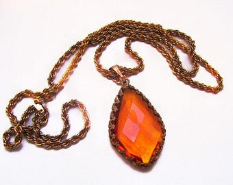 "Art Deco Orange Pendant Necklace Diamond Facets Fleur De Lis Gold Chain 30"" Vintage"