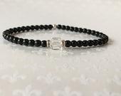 Black Beaded Bracelet, Stacking Bracelets, Crystal Bracelet, Layering Bracelets, Czech Glass