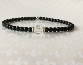 Black Beaded Bracelet, Stacking Bracelets, Crystal Bracelet, Layering Bracelets, Czech Glass