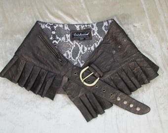 DISTRESSED  leather steampunk mini skirt Dark brown leather wrap around leather ruffled steampunk skirt