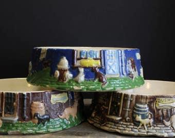 Vintage Ceramic Hand Painted Dog Dish // Delightful Dog Bowl // Choose 1 of 3