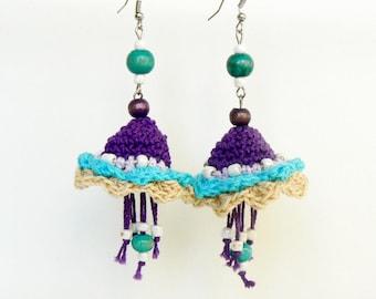 Chandelier boho earrings, Big crochet flowers, Long textile earrings, Country purple earrings, Chic floral dangle earrings, Knitted jewelry
