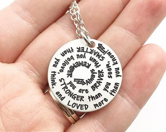 You Are Braver Than You Believe Stronger Than You Seem And Smarter Than You Think Loved More Than You Know - Motivational - Engraved Jewelry