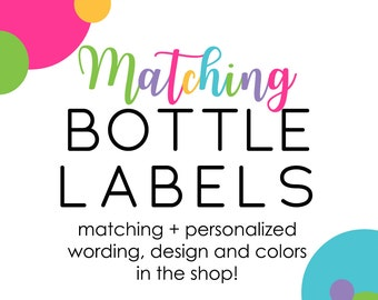 Matching Water Bottle Wraps Personalized Baby Shower Birthday Bridal Party Decorations Soda Label Printable Custom Colors