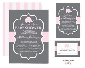 Pink & Grey Elephant Baby Shower Invitation Kit - Celebration Bundle -- Personalize Printable -- Book Insert -- Diaper Raffle