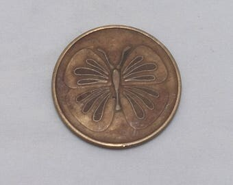 Vintage AA FREEDOM GROWTH Butterfly Brass Token, Exonumia, 1960s, Alcoholics Anonymous